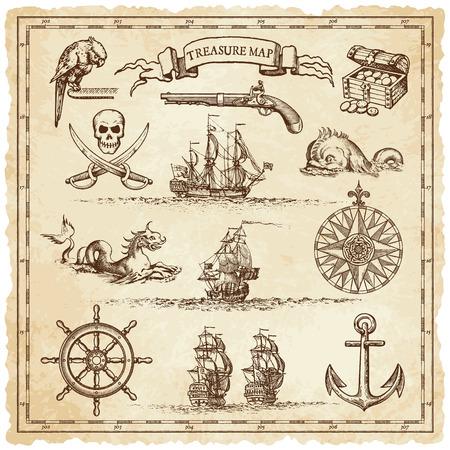 """빈티지 또는 """"보물""""지도 또는 빈티지 여행 또는 해적 관련 인접 해 디자인을 설명하기 위해 설계된 매우 높은 세부 장식의 컬렉션입니다. 스톡 콘텐츠 - 41660589"""