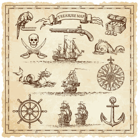 A collection of very high detail ornaments designed to illustrate vintage or treasure maps or othe designs related to vintage travels or pirates. Illustration