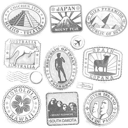 pasaporte: Colección detalle Hola de monumento y el icono de la cultura sellos de todo el mundo Vectores