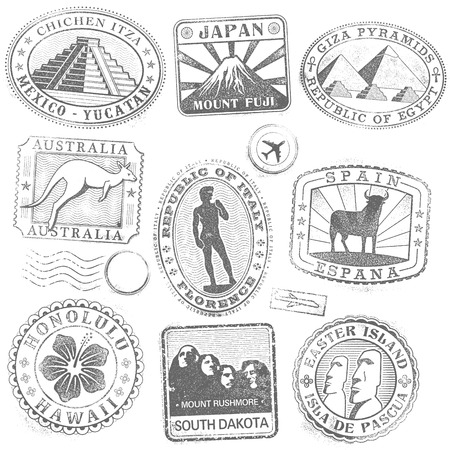 Hi detail collection of monument and culture icon stamps from all over the world