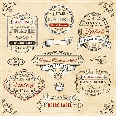 Illustration de sept vintage labels dessinés à la main contre, un fond de couleur crème aux intempéries, bordé d'un design vintage