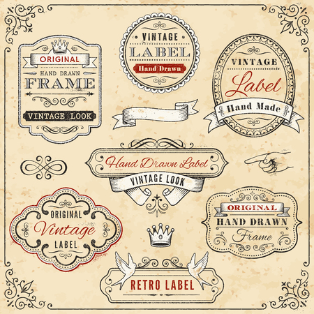 Illustration of seven hand-drawn vintage labels against a weathered, cream-colored background, bordered with a vintage design Vettoriali