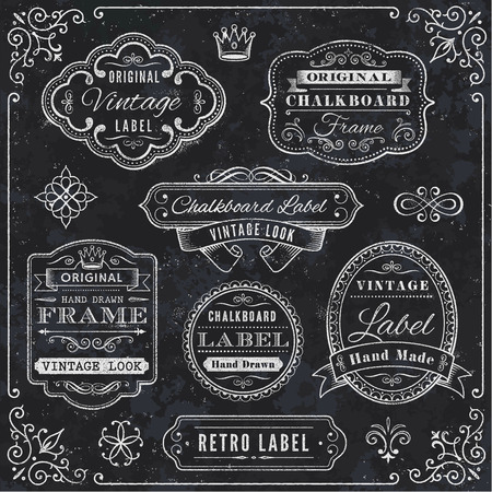 styled: A comprehensive set of high detail Design grunge Chalkboard Labels and Elements.