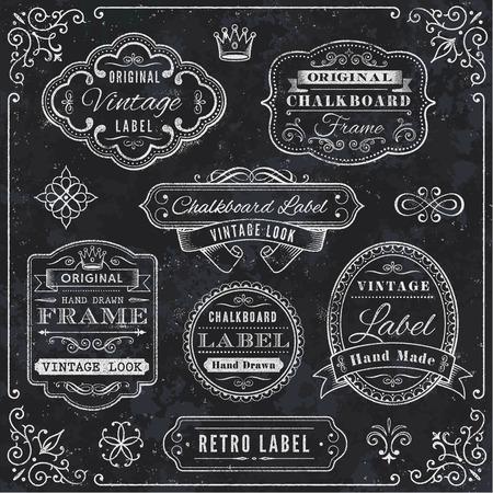 A comprehensive set of high detail Design grunge Chalkboard Labels and Elements.
