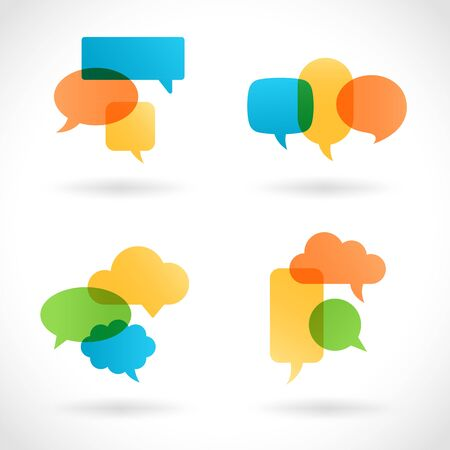 chat room: A Composition of internet multicolored transparent Baloons. Illustration