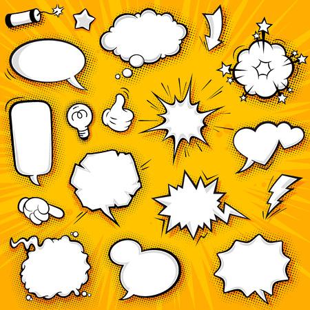 divertido: Una colección de globos divertidos para los discursos de historietas y también los efectos de sonido.