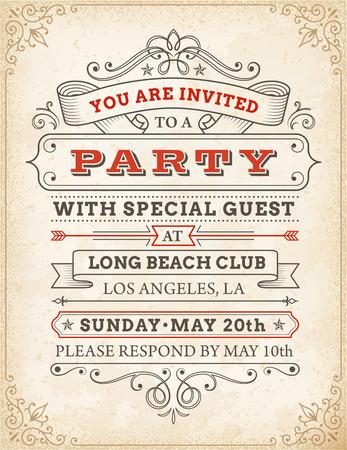 Un elevato dettaglio grunge dell'annata dell'invito modello per una festa o celebrazione.