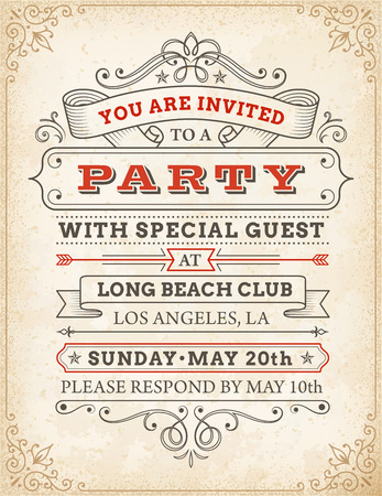 invited: An high detail grunge vintage Invitation Template to a party or celebration. Illustration