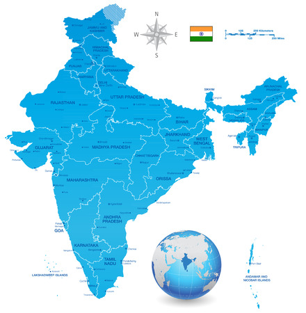A High Detail vector Map of the Republic of India Federation states and Union Territories and major cities, with a 3D vector Globe centered on India