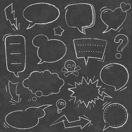 A comprehensive set of high detail Design grunge Chalkboard Speech Bubbles and comic elements.