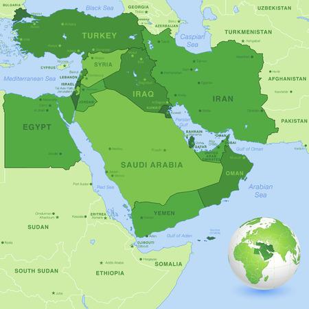 mappa: Massime dettaglio mappa della Zona Est Medio, con un globo 3D centrato sul Medio Oriente. Vettoriali