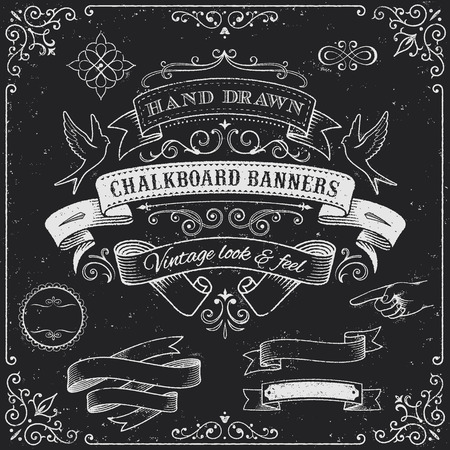 vintage: Kompleksowy zestaw wysokiej detal grunge Chalkboard Banery i Elements.