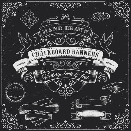 ruban noir: Un ensemble complet de haut niveau de d�tail Banni�res et des �l�ments de conception grunge tableau. Illustration