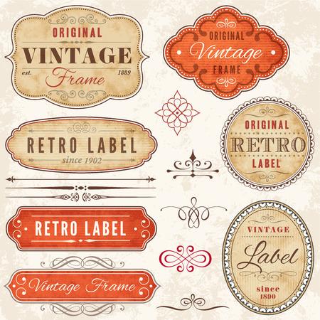 A set of high detail grunge vintage labels and decorative elements. Illustration