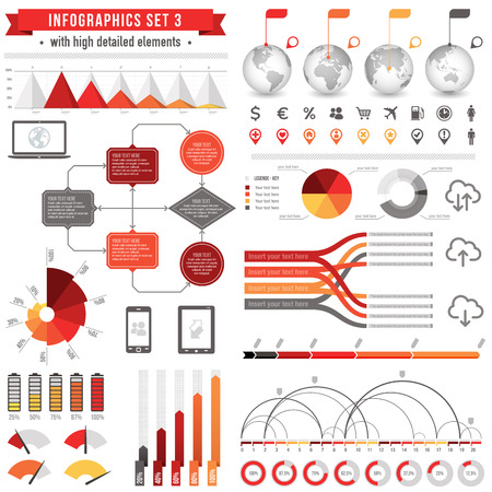 A Template set for infographics with: Bar charts, Graphs, Pie Charts, Detailed World Map, Pointer Icons, Story Line Templates