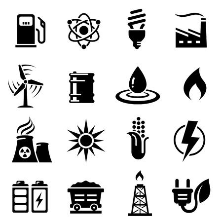 natural phenomenon: A vector icon set with 16 Energy productionsavingEnvironment themed icons