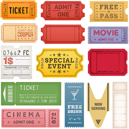 A comprehensive set of high detail Vintage grunge Tickets and Coupons, suitable for paper or web publishing. Ilustração