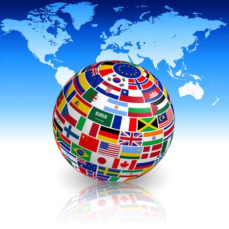 banderas del mundo: Un globo 3d con sombras y la reflexión delante de un mapa del mundo.