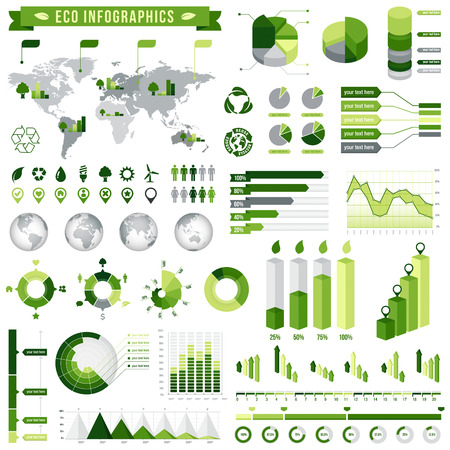 A comprehensive Template set for Green infographics ecological related.