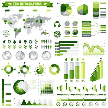 medio ambiente: Una plantilla completa fij� para Green relacionada ecol�gica infograf�a. Vectores