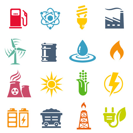 A Colorful vector icon set with 16 Energy production/saving/Environment themed icons