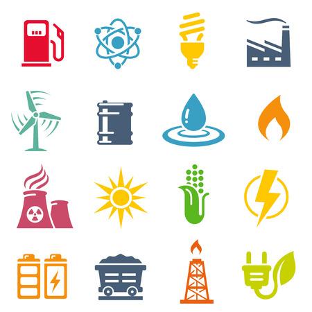 carbone: Un set di icone vettoriali colorati con 16 di produzione di energia  risparmio  Ambiente icone a tema