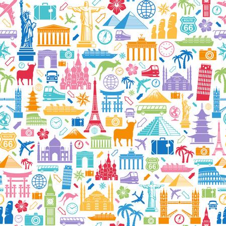 passeport: Seamless texture composée de voyage liées et les monuments célèbres icônes Illustration