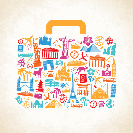 Travel luggage concept composed of travel related and famous monuments icons on a grunge background.