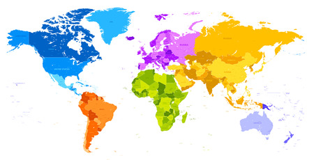 south asia: Vector hi quality world map in vibrant colors