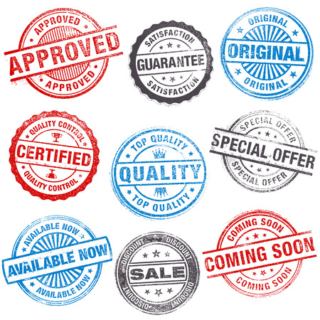 approved: A set of high detail Design grunge vector stamps for sale and retail promotions.