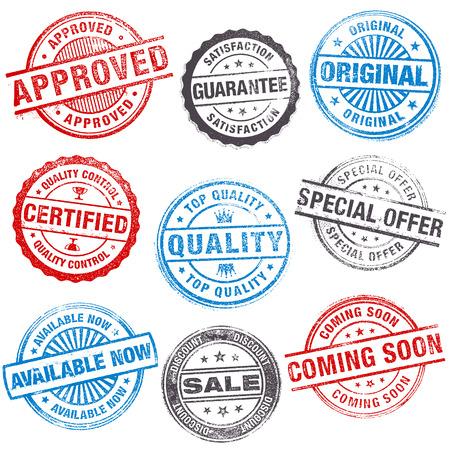 insignias: Un conjunto de alto detalle sellos Diseño del vector del grunge en venta y promociones de venta.