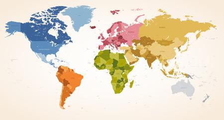 mappa: Un Vintage colori High Dettaglio mappa vettoriale illustrazione di tutta la mappa del mondo.
