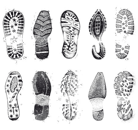 hiking: A comprehensive set of high detail Design grunge shoe tracks