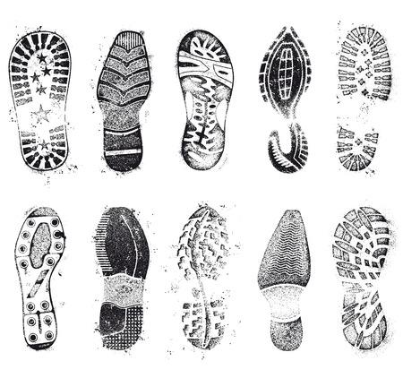 Een uitgebreide set van hoog detail ontwerp grunge schoen tracks Stock Illustratie