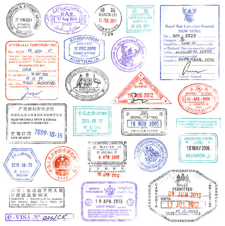 passport background: A high quality collection of vector passport stamps.