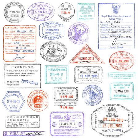 pasaporte: Una colección de alta calidad de los sellos del pasaporte del vector. Vectores