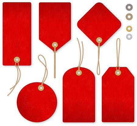 Een set van hoge detail rode grunge Vector Prijskaartjes Stock Illustratie