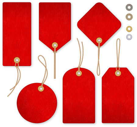A set of high detail red grunge Vector Price Tags Illustration