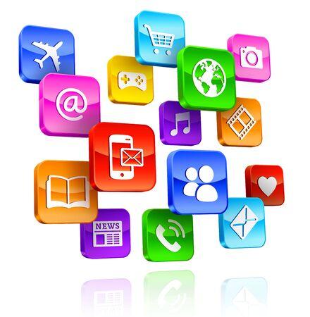 Una Composición de internet multicolor 3D App Icons.