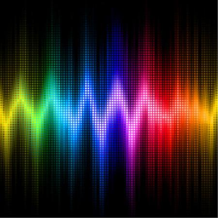 sonido: Una onda de sonido arco iris de colores sobre un fondo negro