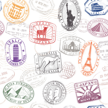 passport stamp: Grunge hi quality vector seamless texture pattern with monuments ad famous landmarks from all over the world