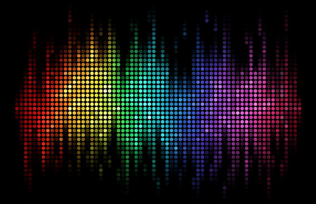 sound wave: A rainbow-colored sound wave composed by round dots set against a black background