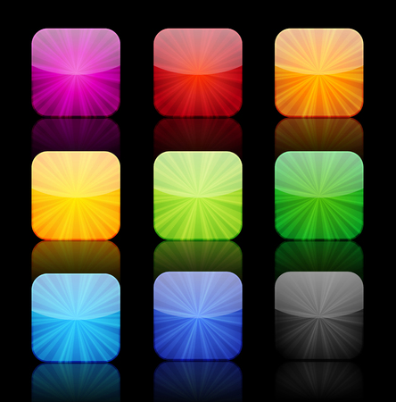 icon buttons: Collection of nine glossy icon buttons with reflection.