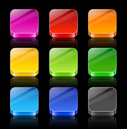icon buttons: Collection of nine 3D glossy icon buttons with reflection