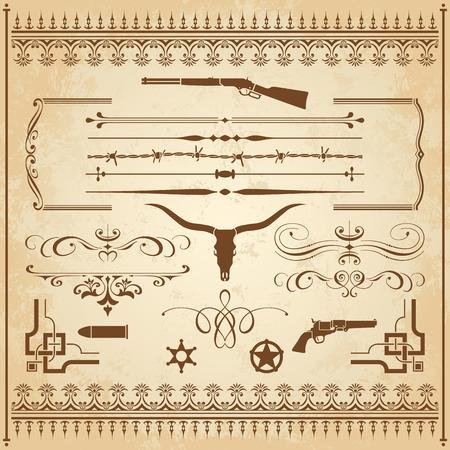 Een verzameling van Wild West ornament, met frames, linialen, hoek ornamenten en clipart.