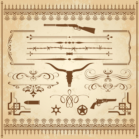 A collection of Wild West ornament, with frames, rulers, angle ornaments and cliparts. Vettoriali