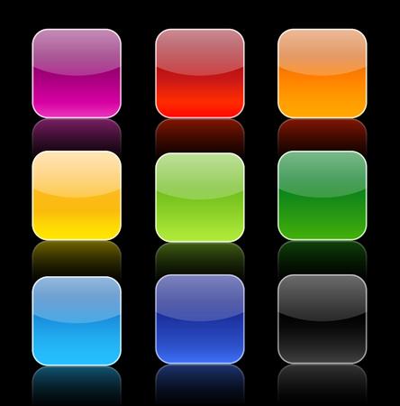 icon buttons: Colecci�n de nueve botones de icono con la reflexi�n.