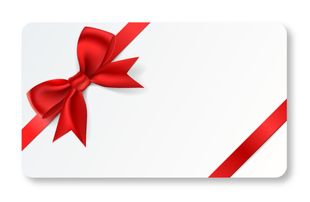 red ribbon bow: A full vector gift card with a red ribbon.