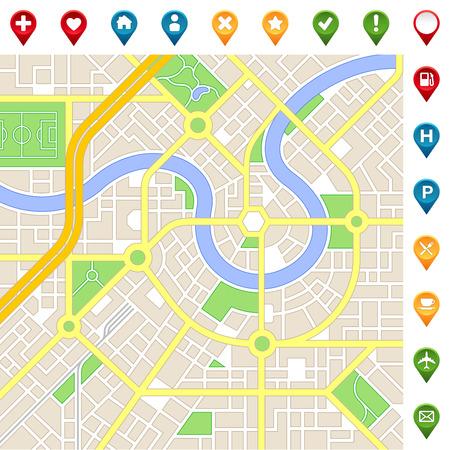 mappa: Una mappa della città generica di una città immaginaria con colori chiari con molti simpatici luoghi importanti icone.