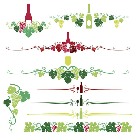 A set composed of nine various Grapes, Leaves and Wine ornaments.